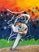 Base Ball Posters - Verlander in Motion Poster by Lance Graves