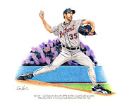 Detroit Tigers Drawings - Verlander by Ken Hank