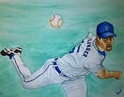 Detroit Tigers Art Paintings - Verlander by Stephanie Reid