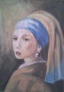 Old Masters Mixed Media Posters - Vermeers Girl With Pearl Poster by Rusescu Sinziana