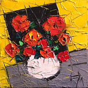 Abstract Composition Paintings - Vermilion Flowers On Black Square by EMONA Art
