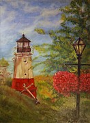 Hanging Baskets Paintings - Vermilion Lighthouse by Phyllis Barrett