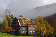 Fall Landscape Prints - Vermont Autumn Barn Print by Joseph Rossbach