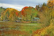 Boating Lake Prints - Vermont Autumn Dream Place Print by Deborah Benoit
