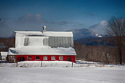 Barn Posters - Vermont barn in snow with mountain behind Poster by Jeff Folger