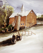Old Barn Paintings - Vermont Barn With Wooden Silo by Robert Birkenes