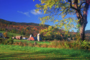 Autumn Foliage Photos - Vermont Farm Scene in Autumn by John Burk