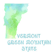 Abstract Map Prints - Vermont - Green Mountain State - Map - State Phrase - Geology Print by Andee Photography