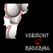 Abstract Map Posters - Vermont Loves Baseball Poster by Andee Photography