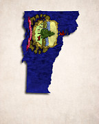 Flag Of Usa Posters - Vermont Map Art with Flag Design Poster by World Art Prints And Designs