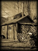Shed Framed Prints - Vermont Maple Sugar Shack circa 1954 Framed Print by Edward Fielding