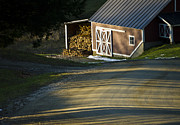Shack Posters - Vermont Maple Sugar Shack Sunset Poster by Edward Fielding