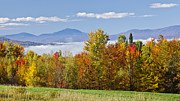 Bank; Clouds; Hills  Framed Prints - Vermont October Morning Framed Print by Alan L Graham