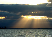Sun Rays Originals - Vermont Rays from above Lake Champlain  by Mark Holden