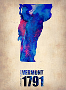 Vermont Posters - Vermont Watercolor Map Poster by Irina  March