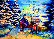 Winter Scenes Rural Scenes Prints - Vermont Winterscene In Blues By Montreal Streetscene Artist Carole Spandau Print by Carole Spandau
