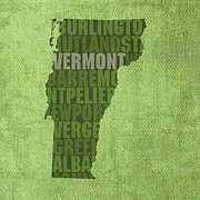 Vermont Posters - Vermont Word Art State Map on Canvas Poster by Design Turnpike