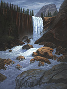 Waterfalls Paintings - Vernal Falls Yosemite  by Del Malonee