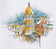 Dome Paintings - Vernazza Cinque Terre by Pat Katz