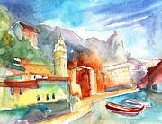 Italian Landscapes Drawings Posters - Vernazza in Italy 07 Poster by Miki De Goodaboom