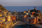 Italian Landscape Framed Prints - Vernazza in the Evening Framed Print by Andrew Soundarajan