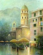 Original Oil On Canvas Posters - Vernazza Italy Poster by Cecilia  Brendel