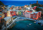 Vernazza; Cinque Terre; Italy; City Lights; Europe; Night; Cobbled Street; Boat; Evening; Black And White; Black And White Photos; Black And White Photography Photos - Vernazza Sera by Inge Johnsson