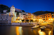 Vernazza; Cinque Terre; Italy; City Lights; Europe; Night; Cobbled Street; Boat; Evening; Black And White; Black And White Photos; Black And White Photography Photos - Vernazza village Italy by Ioan Panaite