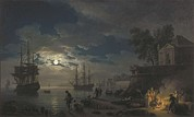Lune Photo Framed Prints - Vernet, Joseph 1714-1789. Night A Port Framed Print by Everett