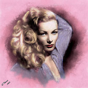 Hollywood Star Framed Prints - Veronica Lake Framed Print by Arne Hansen