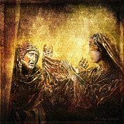 Religious Art Digital Art Metal Prints - Veronica Wipes His Face Via Dolorosa 6 Metal Print by Lianne Schneider