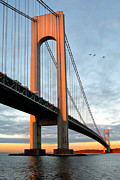 Gary Heller Metal Prints - Verrazano Bridge at Sunrise - Verrazano Narrows Metal Print by Gary Heller