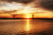 Brooklyn Bridge Photographs Paintings - Verrazano Bridge at Sunset by Boris Mordukhayev