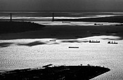 Greyscale Prints - Verrazano Narrows from the World Trade Centre Print by Gary Eason
