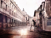 Pink Photos Prints - Versailles France Romantic Cobblestone Streets Painting Print by Kathy Fornal