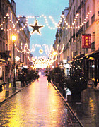 Rainy Street Art - Versailles France Romantic Rainy Night Street Scene at Christmas by Kathy Fornal