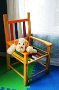 Missing Child Posters - Vertical of dog in kid chair. Poster by Sylvie Bouchard
