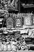 Souk Framed Prints - Vertical Rows Of Local Speciality Ceramics For Sale To Tourists On A Stall In The Souk Market In Nabeul Tunisia Framed Print by Joe Fox