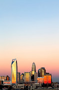 Charlotte Photo Prints - Vertical skyline pink sky Charlotte NC Print by Patrick Schneider