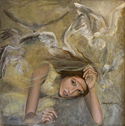 White Painting Metal Prints - Vertigo Metal Print by Dorina  Costras