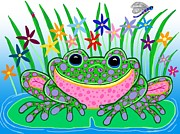 Nick Gustafson Prints - Very Happy Spotted Frog Print by Nick Gustafson