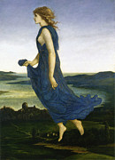Woman In A Dress Prints - Vesper The Evening Star Print by Edward Burne Jones