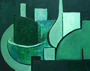 Bowls Paintings - Vessels - Green by Vivian ANDERSON