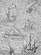 Spanish Prints - Vessels of Early Spanish Navigators from The Narrative and Critical History of American Print by English School