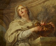 Flame Paintings - Vestal Virgin by Francois Lemoyne