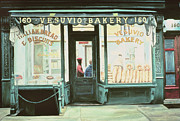 City Night Scene Paintings - Vesuvio Bakery by Anthony Butera