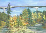 Colors Of Autumn Pastels Prints - Veterans Memorial Bridge in Coeur dAlene Print by Harriett Masterson