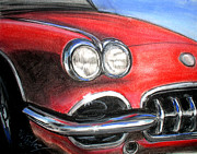 Muscle Pastels Framed Prints - Vette Framed Print by Michael Foltz