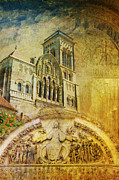 Great Painting Posters - Vezelay Church and Hill Poster by Catf