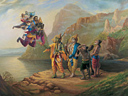 Devotional Paintings - Vibhishan meeting Ram and Lakshman by Vrindavan Das